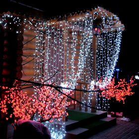 Гирлянда занавес влагостойкая 3х3 метра холодный белый 300 ламп