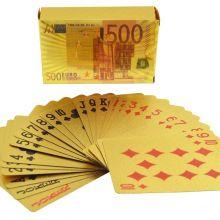 """Золотые пластиковые игральные карты """" 500 евро"""